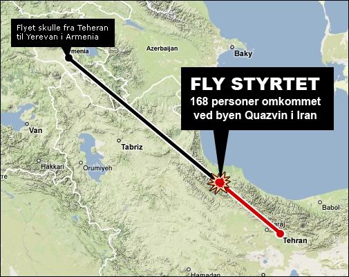 Kart som viser flystyrten