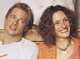 MAGNETER PÅ LERRETET:  Brad Pitt og Julia Roberts gjør hva de kan, men får liten drahjelp i komithrilleren «Meksikaneren».