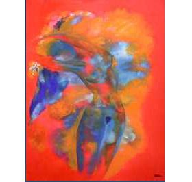 THE BLUE VEIL: Ulla Plougmand-Turner påpeker at hun også maler ekspresjonistiske bilder på grensa til det abstrakte, som dette.Gjengitt med kunstnerens tillatelse