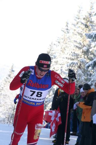 DOBBEL GULLVINNER 2: P�l Golberg fulgte opp gullet p� 10 kilometeren da han gikk andreetappen for det norske stafettlaget.Foto: Kristin �sarmoen Rygg