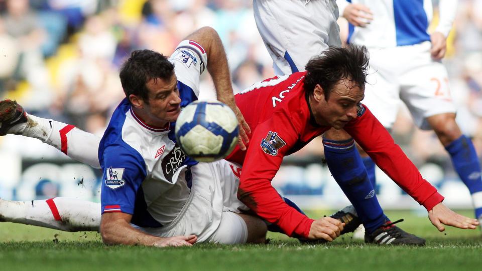 P� TRYNET: Dimitar Berbatov og Manchester United fikk bare med seg ett poeng fra Blackburn i dag. Foto: AP