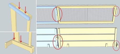KOBLE SAMMEN: Vil du ha plass til mer ved, kobler du p� nytt tak, ny bunn og en ny st�tte. Da m� du skru p� en ekstra lekt p� toppen av sidest�tten, slik at du f�r en slisse som l�seklossene g�r ned i.  P� foten skal du ha plass til to l�seklosser. Pass p� at det er en 50 millimeter �pning bak det vertikale bordet slik at den bakerste l�seklossen g�r ned i.  P� takrammen og bunnen m� du kun ha en l�sekloss p� hver side og plassere dem slik du ser her.  Takplaten m� stikke s� mye ut over ramma under at den overlapper neste takplate.  ILLUSTRSAJON: �ivind Lie