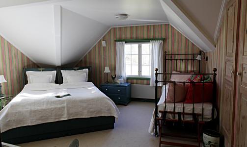 SOVE: Rommet Madeleine har inspirasjon fra Laura Ashleys kolleksjon.