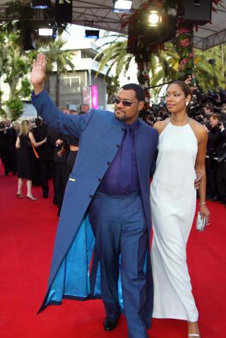 PAPPA OG MAMMA: �Matrix�-stjernen Laurence Fishburne og kona Gina Torres p� Cannes-festivalen i 2003. Foto: SCANPIX