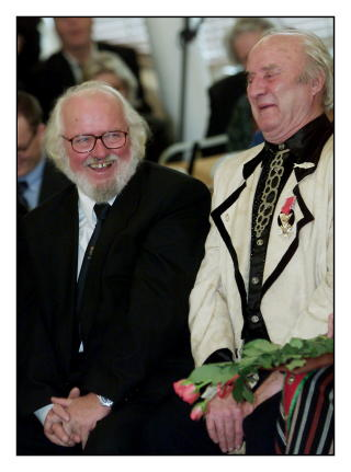 GODE VENNER: Ludvig Eikaas feiret 80-�rslag p� J�lster. Her sammen med vennen Jan Otto Johansen. Foto: Espen Rasmussen