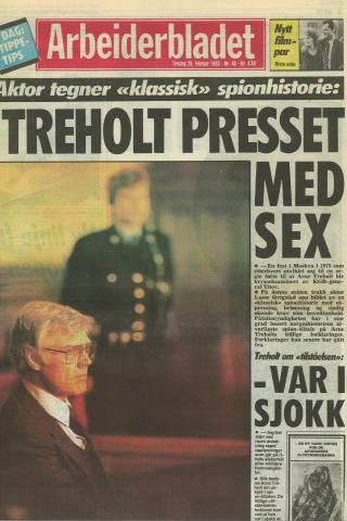 BRUKTE ORGIE-HISTORIEN: Arbeiderbladet, Arne Treholts gamle arbeidsplass, rapporterte fra rettssaken, hvor aktoratet tegnet et bilde av Treholt som lurt i en honningfelle.