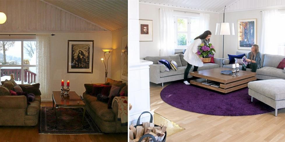 KUL KONTRAST: Med farger og nye m�bler ble salongen husets popul�re blikkkfang og samlingssted.  FOTO: Privat/Espen Gr�nli