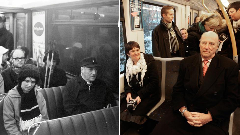 M�TTE KONGEN IGJEN: Berit Okkenhaug med kong Olav p� trikken i 1973 og med kong Harald p� t-banen 6. desember 2010.  Foto 1973: Odd Wentzel Foto 2010: Terje Bendiksby / Scanpix