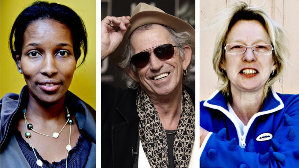 FAVORITTER: Ayaan Hirsi Ali, Keith Richards og Beate Grimsrud er alle blant Dagblad-anmeldernes favoritter fra �ret som snart er over. Foto: LARS EIVIND BONES / SCANPIX