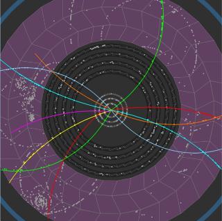Kollisjonsbilder: Dette bildet fra CERN viser hvordan partiklene har beveget seg etter de har kollidert. Foto: Scanpix