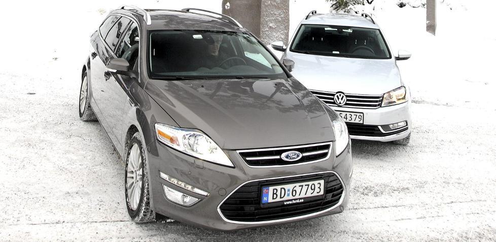 DUELL: Ford Mondeo 2,0 TDCI Powershift stv. og VW Passat 2,0 TDI DSG stv., 2011-modeller. FOTO: Egil Nordlien HM Foto