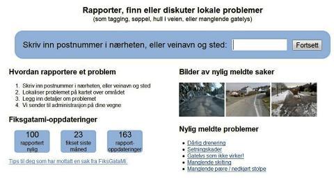 SLIK VARSLER DU: Nettstedet lar deg legge inn bilder og info om problemet du vil melde om. Skjermdump fra Fiksgatami.no.