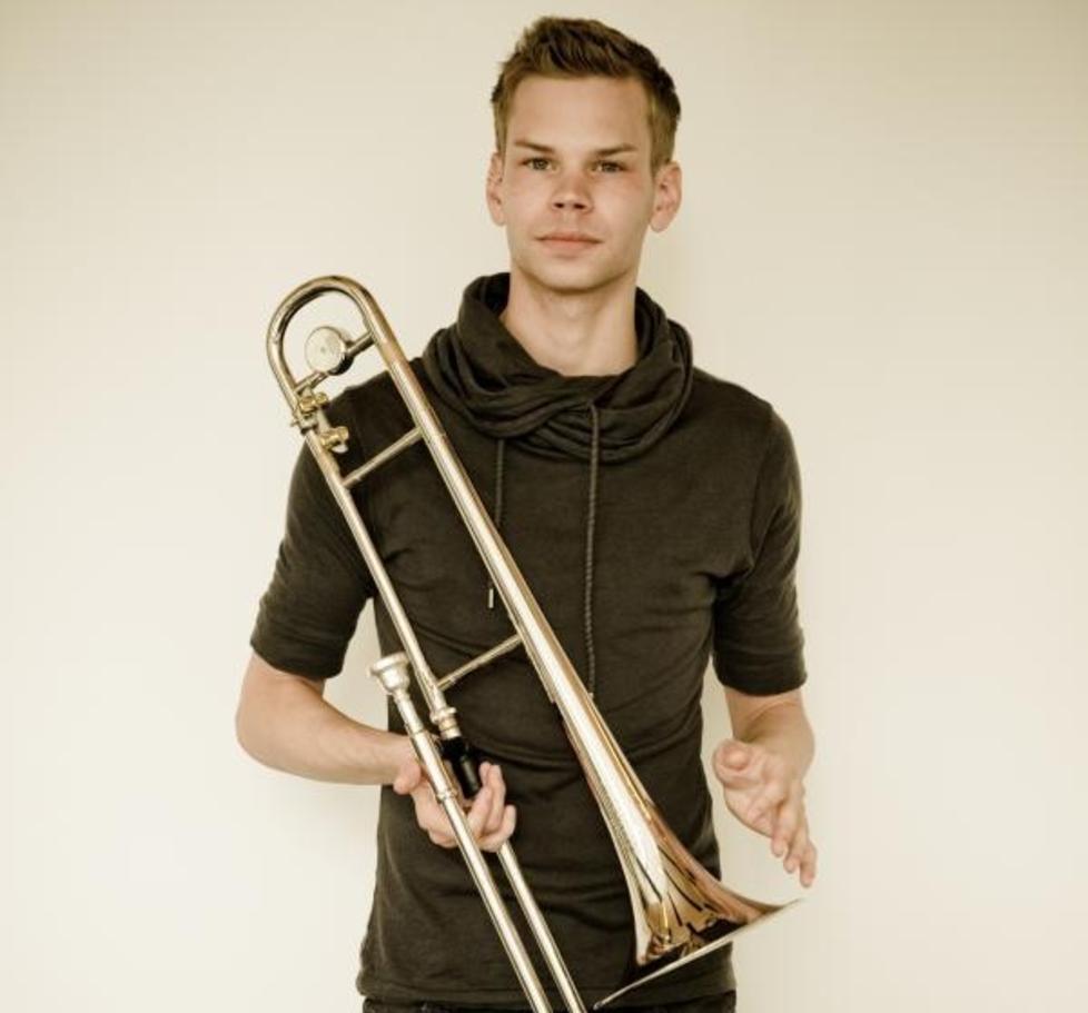 KRISTOFFER KOMPEN:  Sjeldent skudd p� jazztrombonestammen. Til gjengjeld spiller han alt fra tradjazz til avantgardejazz. Foto: Hjemmeside.