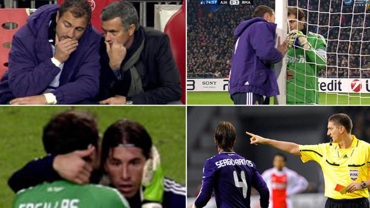 STRAFFET AV UEFA: Denne bildeserien viste hvordan Jos� Mourinho, via mellomenn, ga Sergio Ramos beskjed om � bli utvist mot Ajax. Noen minutter tidligere ble ogs� Xabi Alonso utvist for uthaling av tid - p� stillingen 4-0 til Real Madrid. Foto: Viasat Sport/SCANPIX