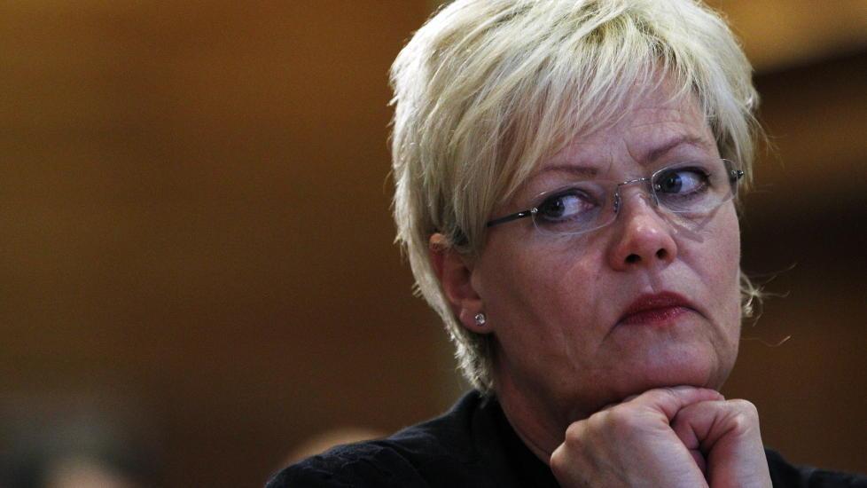 LITEN: SV leder Kristin Halvorsen sliter med meningsm�lingene. Partiet er n� mindre enn Venstre. Foto: Lise �serud / Scanpix