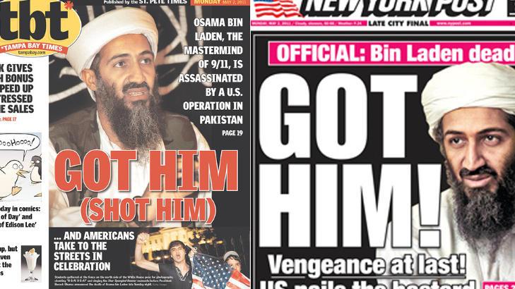 HEVN:  Hevn til slutt, lyder forsiden til New York Post (til venstre), mens Tampa Bay Time sl�r til med et ordspill.
