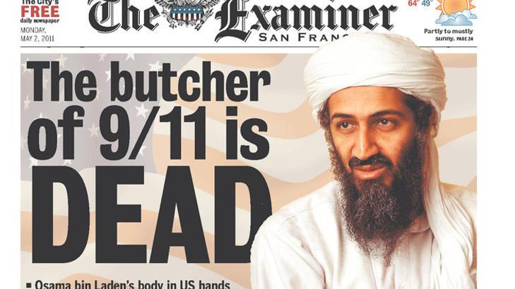 SLAKTEREN:  San Francisco-pressen hyller drapet p� Osama bin Laden.