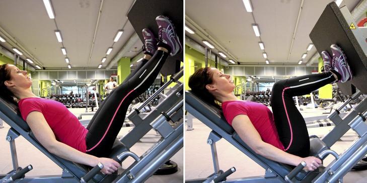BEINPRESS: Stopp bevegelsen med muskelkraft og press vekten tilbake til startstilling uten � l�se kneleddet.  Foto: Cecilie Holtan