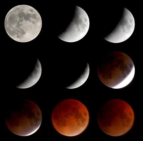 VAKKERT: Et sammensatt bilde av de ulike fasene under en total måneformørkelse 21. februar 2008. Månen blir dyp rød i tidsrommet hvor den befinner seg i jordas helskygge, da den blir indirekte opplyst av sollys som passerer gjennom jordatmosfæren. Foto:EPA/THOMAS RENSINGHOFF/SCANPIX