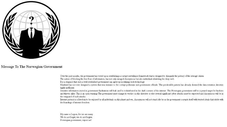 HACKET KIWI: Slik ble hjemmesiden til Kiwi etter Anonymous-angrepet.