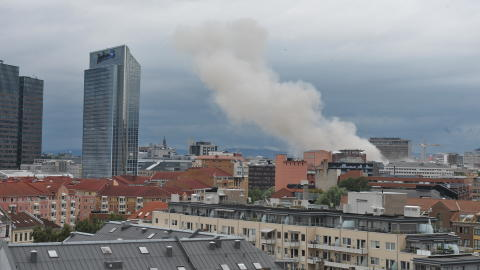 STOR EKSPLOSJON: Skadeomfanget er ikke kjent etter eksplosjonen i Oslo i formiddag. Foto: TROND MARONI