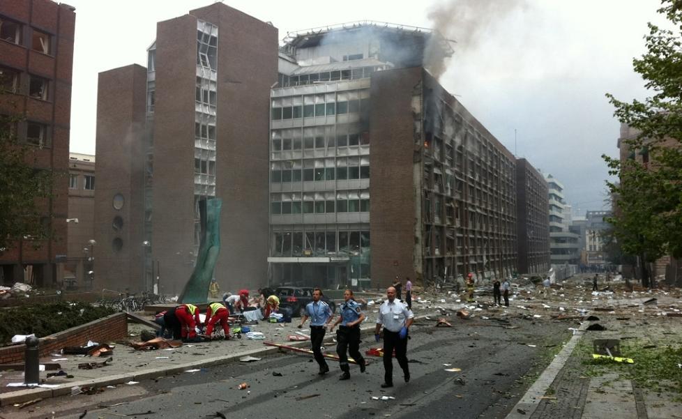 KAOS: Regjeringskvartalet er hardt rammet. Foto: FREDRIK NAUMANN