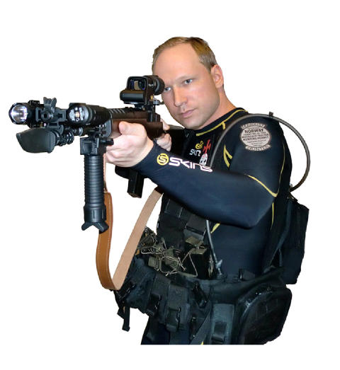POSERTE MED V�PEN: Et bilde tatt fra terrormanifestet til siktede Anders Behring Breivik.  Foto: Faksimile/Scanpix