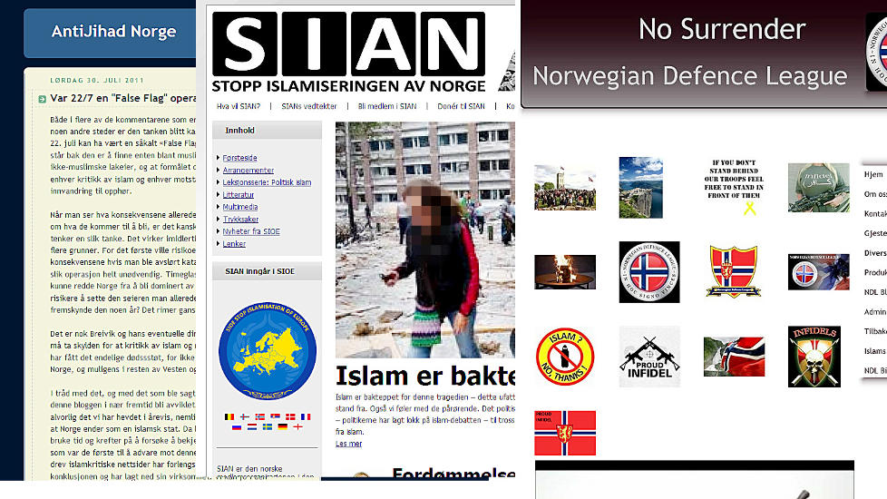 H�YREEKSTREME MILJ�ER: Det st�rste h�ytreekstreme milj�et i Norge springer ut fra islamkristiske internettmilj�er. Disse kjennetegnes av en forestilling om at Norge er i ferd med � bli invadert og okkupert av muslimer. Collage av Anti Jihad Norge, Norwegian Defence leage og SIAN (stop islamiseringen av norge)