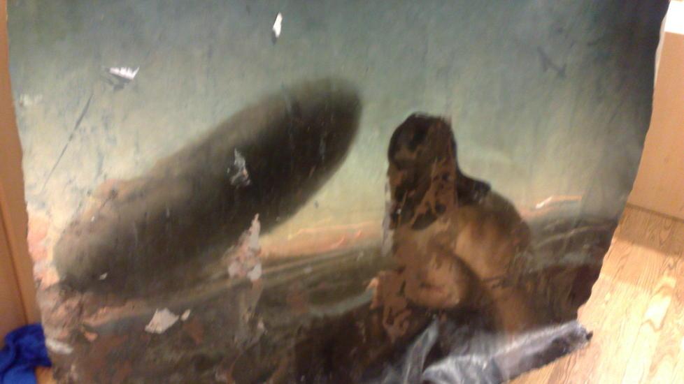 �DELAGT: �Skyen� ble malt i 1985 og er regnet som et av Norges viktigste kunstverk. N� er det �delagt, p� grunn av en skjebnesvanger oljeblanding. Dette var et av bevisene som ble lagt fram i retten i dag. Mobilfoto: Jonas Pettersen