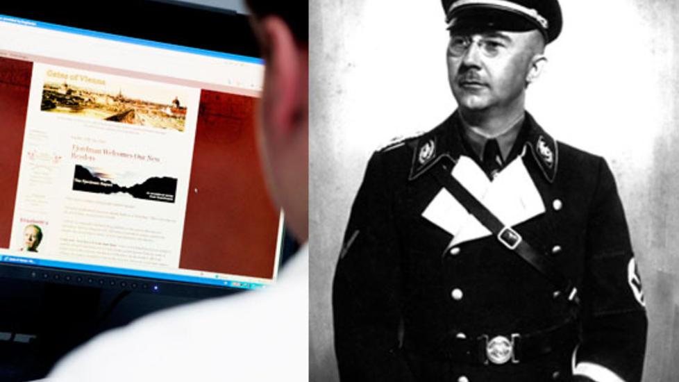 LIKHETSTREKK:  P� bloggen Gates of Vienna (til venstre) har Peder Jensen (36) fra �lesund en rekke ganger skrevet at alle muslimer m� fjernes fysisk fra Vesten, og han ser for seg at v�pen kan bli n�dvendig. Hans l�sning er den samme som SS-sjef Heinrich Himmler (til h�yre) gikk inn for i Tyskland i 1940.