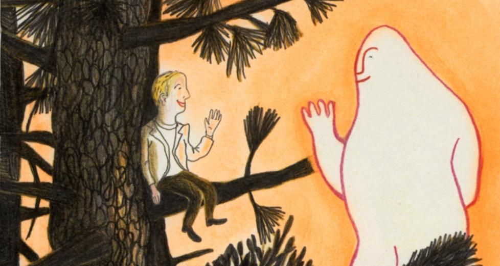 GUDDOMMELIG M�TE: I Kitty Crowthers vakre barnebok er Gud en kl�ne, som svever fordi han er s� d�rlig til � klatre i tr�r. Illustrasjon: Fra boka