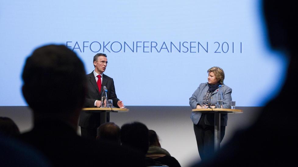 BEGGE FRAM: Statsminister Jens Stoltenberg og Erna Solberg g�r begge fram p� Dagbladets m�ling. Foto: Berit Roald / Scanpix