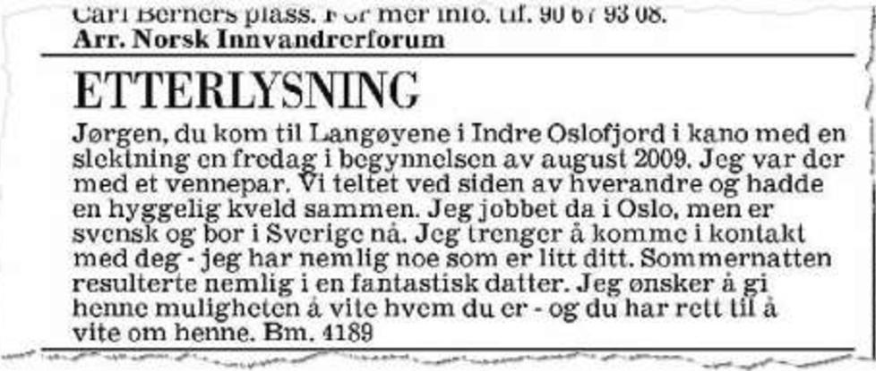 FAKSIMILE: Ei svensk jente etterlyser J�rgen. Faksimile Aftenposten