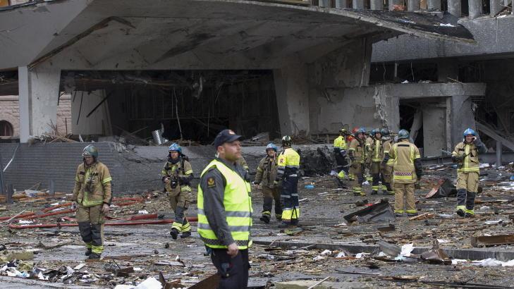 MASSIVE �DELEGGELSER: Regjeringskvartalet fikk massive �deleggelser og �tte personer ble drept 22. juli. Foto: Berit Roald/Scanpix