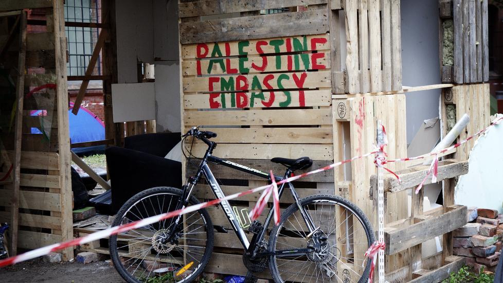 LEIR I OSLO: Ved Kulturkirken Jakob i Oslo har Palestinerne laget seg en flyktningeleir som en del av protesten mot � bli kastet ut av Norge. Foto: Linn Cathrin Olsen/Scanpix