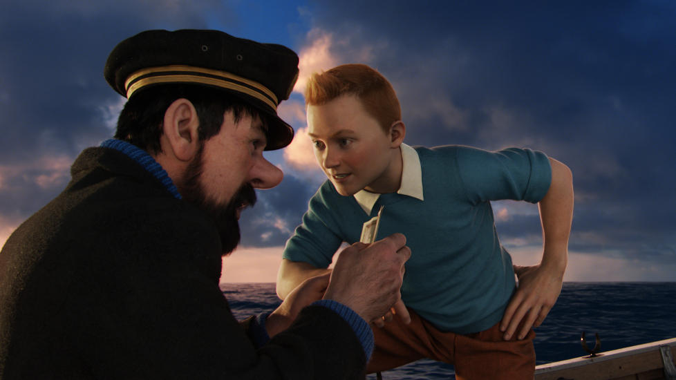 I LIVBTEN: Kaptein Haddock og Tintin diskuterer planen videre i Steven Spielbergs nye film.