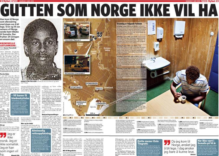 VILLE KASTE UT ABDI: Sommeren 2010 skrev Dagbladet om �Gutten som Norge ikke ville ha�. Abdi kom til Norge som elleve�ring og dr�mte om � bli lege. 13 �r og 14 ran seinere ville Norge sende ham tilbake til Somalia. Faksimile: DAGBLADET 7. JUNI 2010