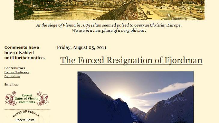 FJORDMAN: «Fjordman» «la opp» som blogger etter 22. juli, men har senere gjenopptatt skribentvirksomheten. Foto: Faksimile/Scanpix