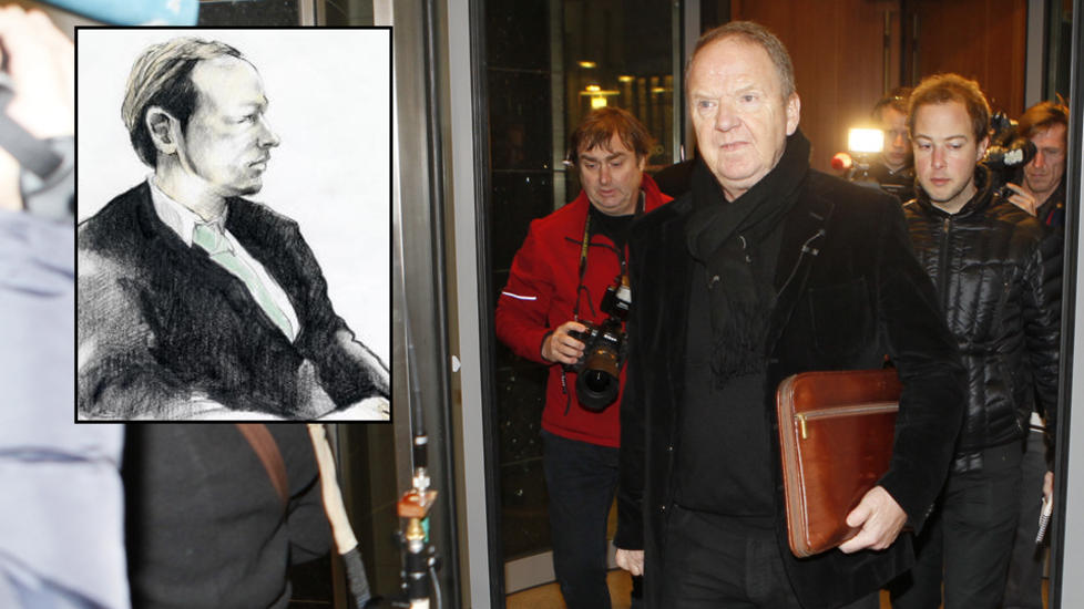 HAR KONKLUDERT: Torgeir Husby leverte i dag rapporten om Breiviks psykiske tilstand. Tegning/Foto: Tegning: Esther Maria Bjørneboe / NRK/Scanpix