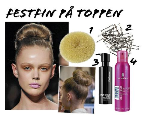TOPP: 1. Hair donut fra Glitter, kr 89. 2. hrspenner fra HM, kr 20. 3. Shu Umemura Rasai styling cream, kr 350. 4. Lee Stafford spray shine, kr 79. Foto: Fashionactive og produsentene.