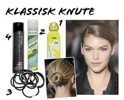 KNUTE: 1. L'Oreal Professionnel play ball mousse, kr 235. 2. Batiste Dry shampoo, kr 79. 3. Hrstrikker fra HM, kr 20. 4. Shu Uemura Sheer laquer hair spray, kr 350. Foto: Fashionactive og produsentene.