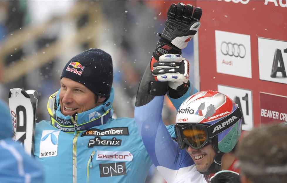 ANNENPLASS: Aksel Lund Svindal hadde seieren halvveis ned i lomma, men m�tte se seg sl�tt av sveitsiske Sandro Viletta med startnummer 30.Foto: SCANPIX/REUTERS/Mark Leffingwell