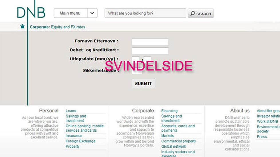 SVINDEL:  DNB har p� sine hjemmesider lagt ut et skjermbilde av siden det blir lenket til i den falske eposten. Foto: DNB.