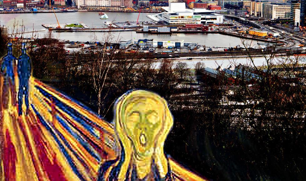 D-DAG I dag avgj�res Lambdas skjebne i Oslo bystyre. Det kan f�re til ramaskrik blant alle de fagmilj�ene som har uttrykt sin st�tte til prosjektet. Collage av Munchs Skrik og foto med Bj�rvika i bakgrunnen, der Lambda er planlagt. Utf�rt i forst�else med Munch-museet. Foto: Lars Eivind Bones / Dagbladet