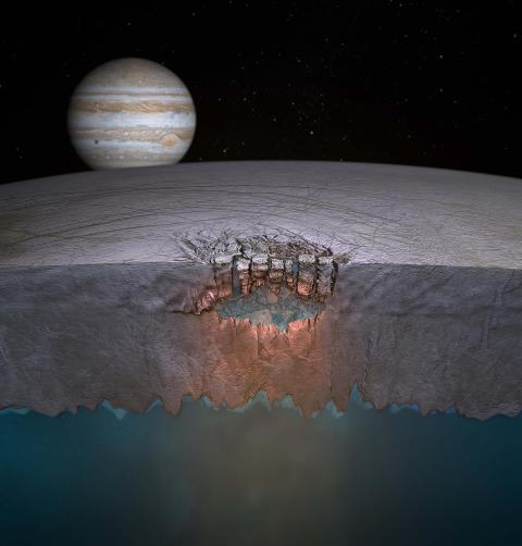 IKKE AKKURAT MJ�SA: Jupiters m�ne Europa, som trolig har et stort hav under en kappe av is, er et av de mest lovende stedene for jakta etter utenomjordisk liv. Oppdagelsen av enorme vannlommer i isen kommer p� �ttendeplass. Foto: REUTERS/Britney Schmidt/Dead Pixel VFX/University of Texas at Austin/SCANPIX