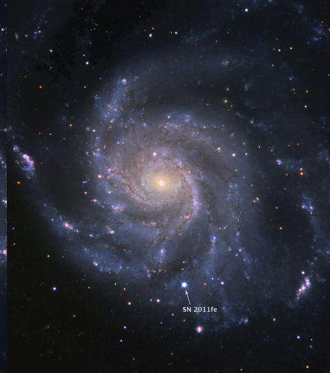STJERNESMELL: 21 millioner lys�r kan h�res voldsomt mye ut, men i kosmologisk m�lestokk er det et steinkast. Derfor var det stort da en supernova eksploderte s� n�r jorda, i galaksen M101. Nyheten kommer p� en tredjeplass over de beste astronominyhetene i 2011, if�lge astrofysiker Jostein Riiser Kristiansen. Foto: AFP PHOTO/BJ Fulton (LCOGT)/Palomar Transient Factory/ The Space Telescope Science Institute/SCANPIX