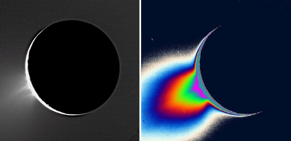 KAN DET V�RE LIV HER?: Vann og isgeysirene p� Saturn-m�nen Enceladus har v�rt kjent i flere �r, men forskere har lurt p� om det har v�rt for kaldt p� m�nen til at det finnes store mengder flytende vann - hovedingrediensen til liv - under isen. Men to uavhengige studier i �r var godt nytt: Det er mye varmere p� m�nens s�rpol enn f�rst antatt, og det er store mengder natriumsalter i sprutene som st�r ut - akkurat som i havene her p� jorda. Dette gir solsystemets t�ffeste m�ne en plass p� lista over �rets beste astronyheter. Foto: EPA/NASA/JPL/SPACE SCIENCE INSTITUTE/SCANPIX