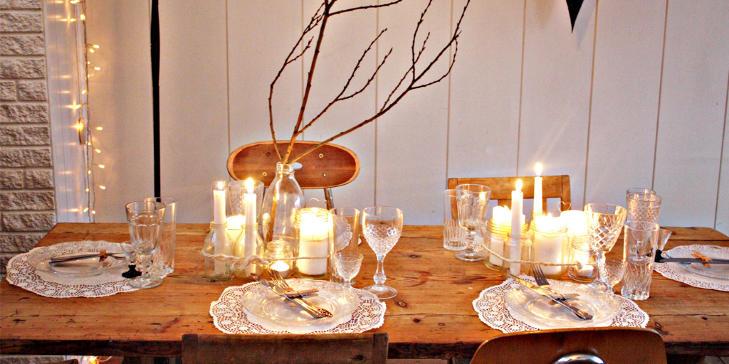 R� NATUR: Brigitta har dekket sitt nytt�rsbord enkelt, men likevel vakkert vakkert. Og perfekt for �rets st�rste fest. FOTO: Brigitta/briggslekehus.blogspot.com