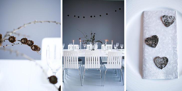 VINTERHVITT: Kristina Landro bruker kongler og hjerter som dekorasjon p� sitt nytt�rsbord. FOTO: Kristina Landro/lovepeacepionies.blogspot.com