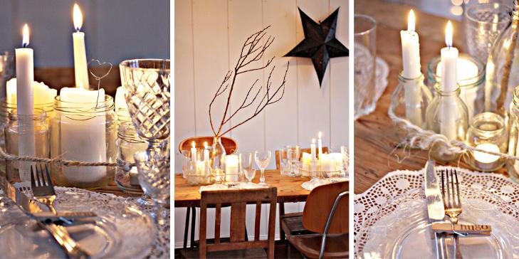 LYS OG VARME: Massevis av tente lys skaper stemning p� nytt�rsbordet hos bloggeren Brigitta. FOTO: Brigitta/briggslekehus.blogspot.com